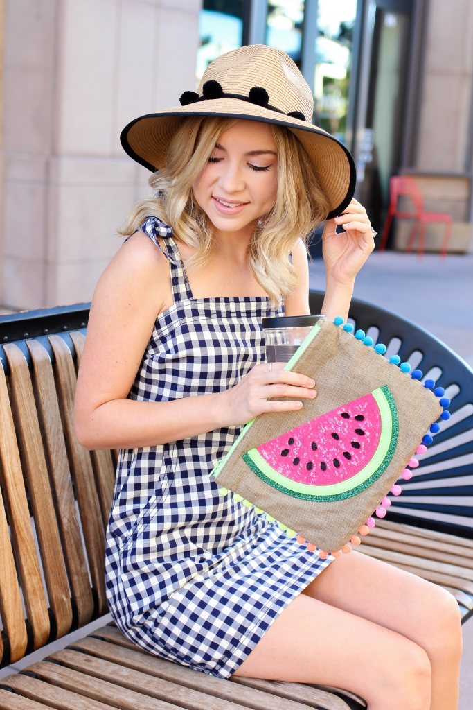 pom clutch - pom fedora - express - gingham dress - simply sutter