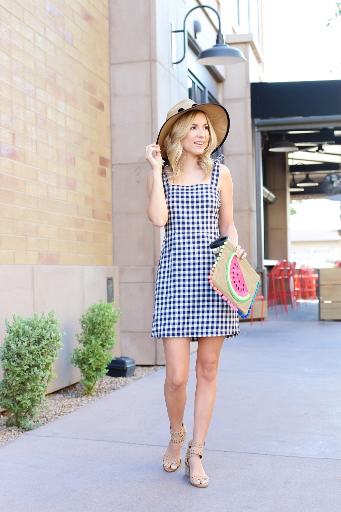 express dress - gingham dress - bow tie dress - gingham
