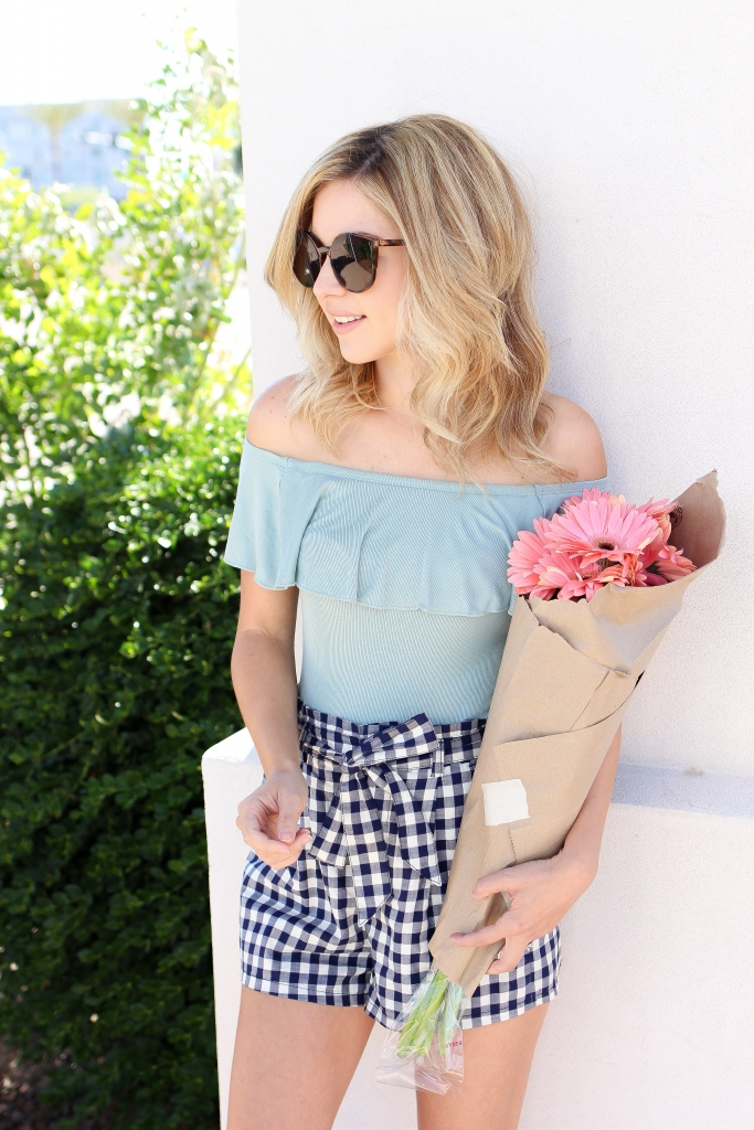 express - gingham - off the shoulder - bodysuit