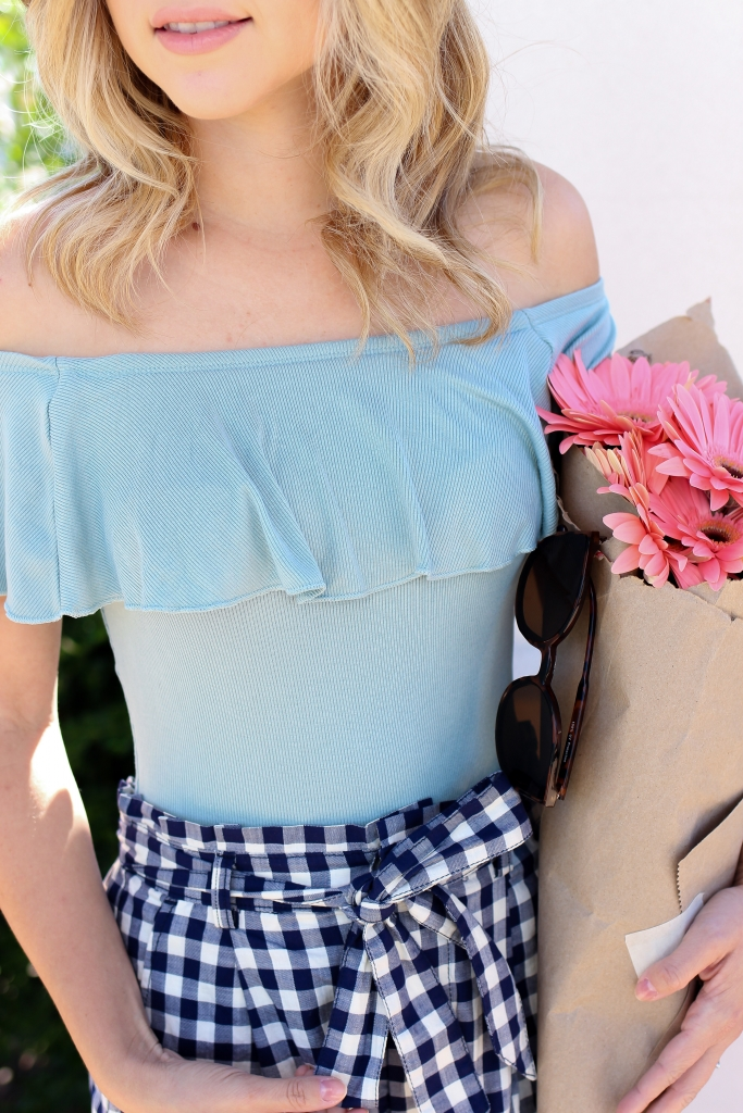 off the shoulder top - express bodysuit - gingham shorts - high waist shorts