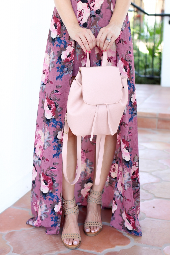 francescas romper - blush backpack - sandals - flirty floral romper