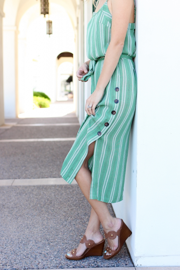 mink pink dress - casual dress - stripe dress - dress with slit