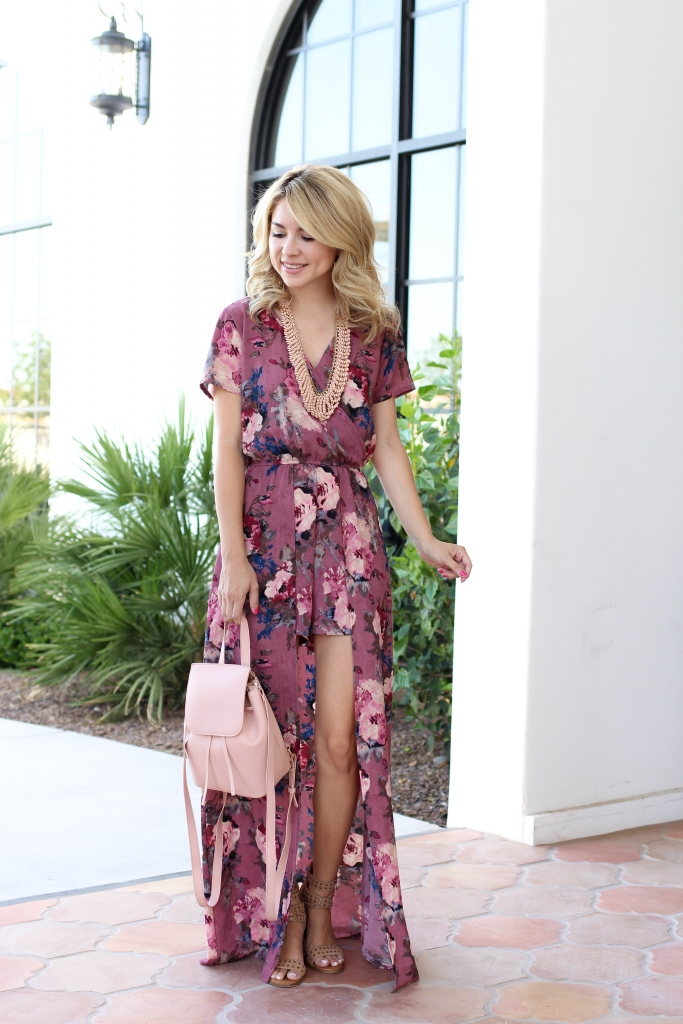 floral maxi - romper - casual outfit