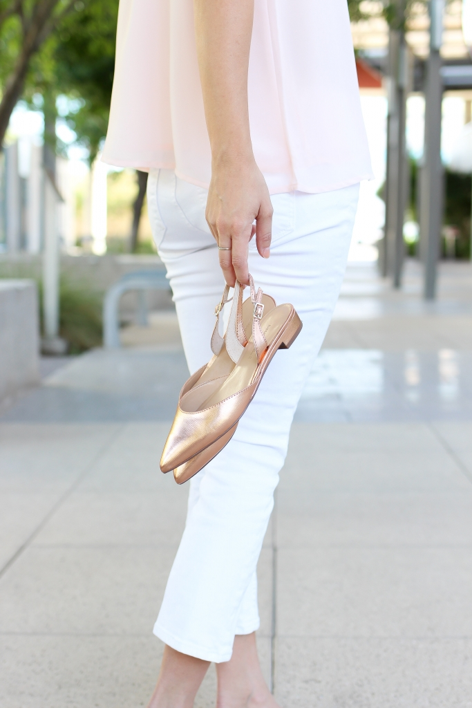 Rose Gold sandals - Slingback - white jeans - summer sandals