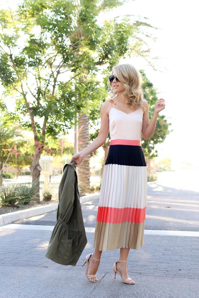 pleated dress - midi dress - banana republic - summer dress - simply sutter - colorblock