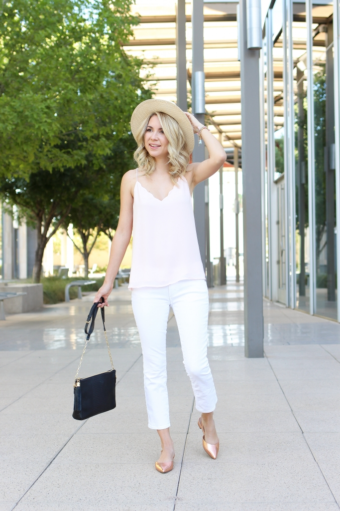 pink scallop top - crop white jeans - rose gold flats - summer fashion