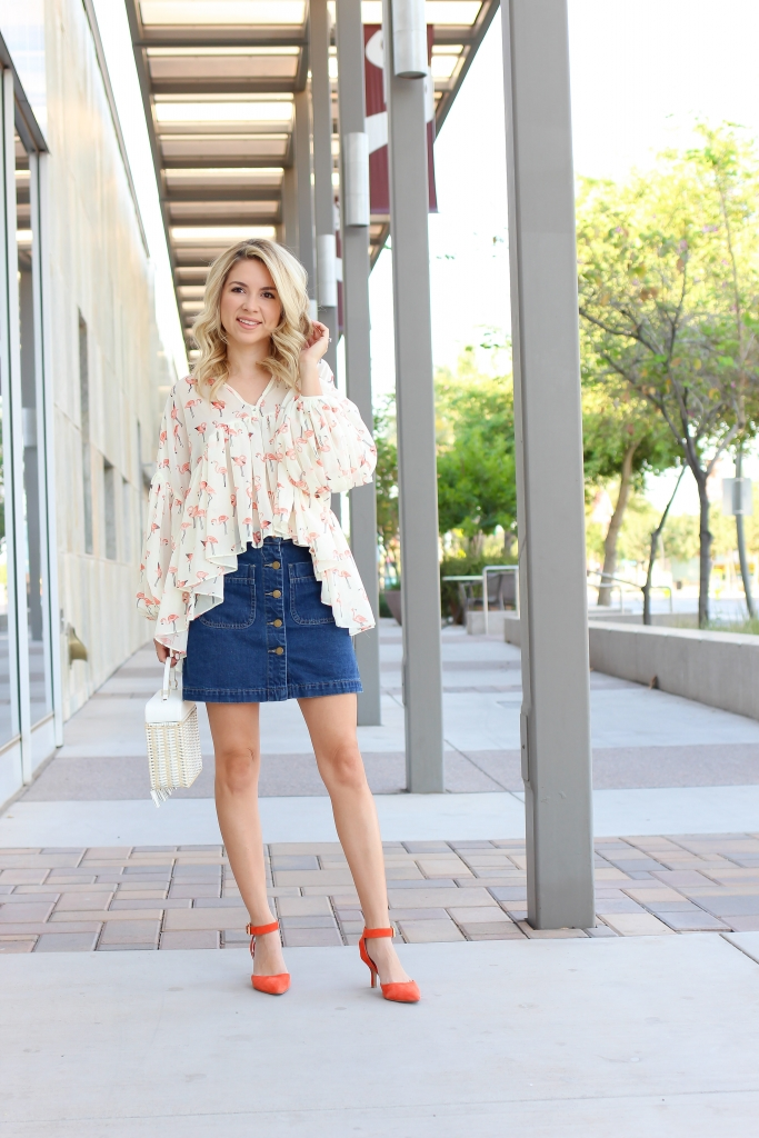 pleated top - flamingo top - denim skirt - bold color