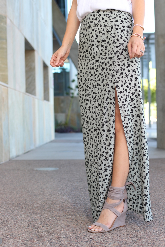 Slit maxi skirt - ankle wrap wedges - simply sutter - casual summer outfit