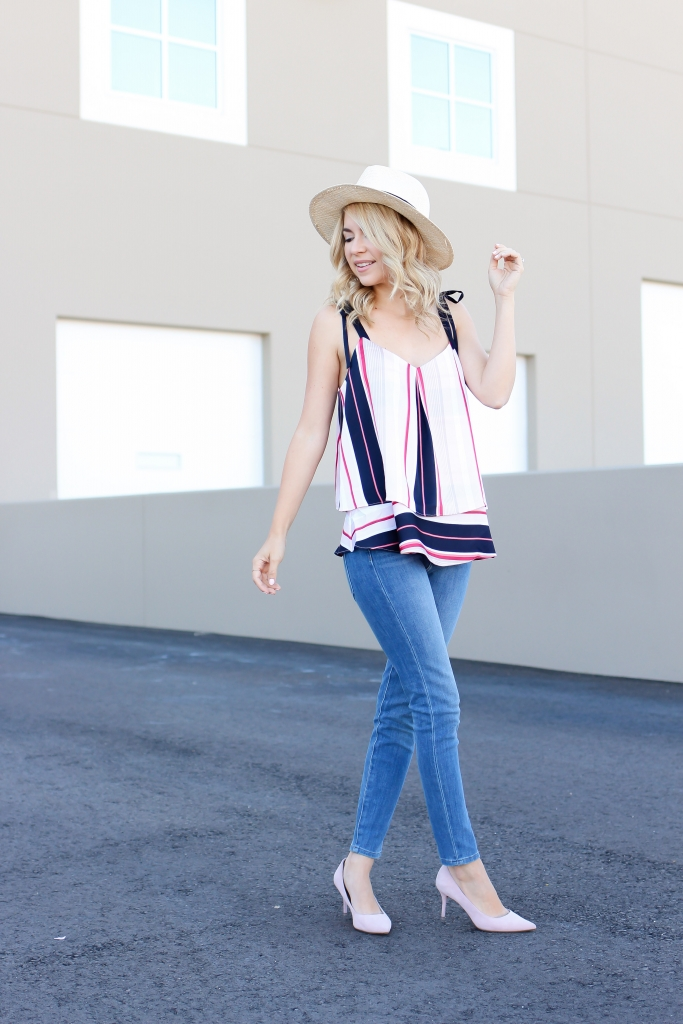tie top - stripe cami - banana republic - simply sutter - blogger - fashion - summer outfit - colorblock