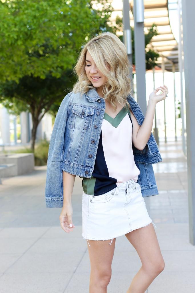 colorblock - banana republic - white denim skirt - summer outfit