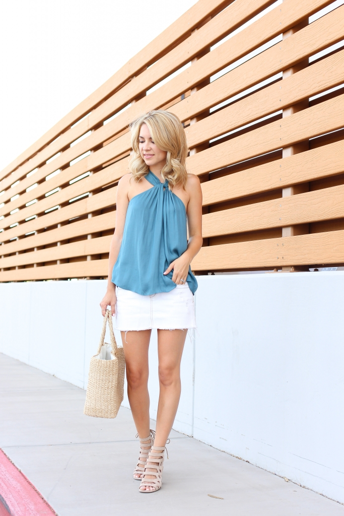 halter top - white denim skirt -summer style