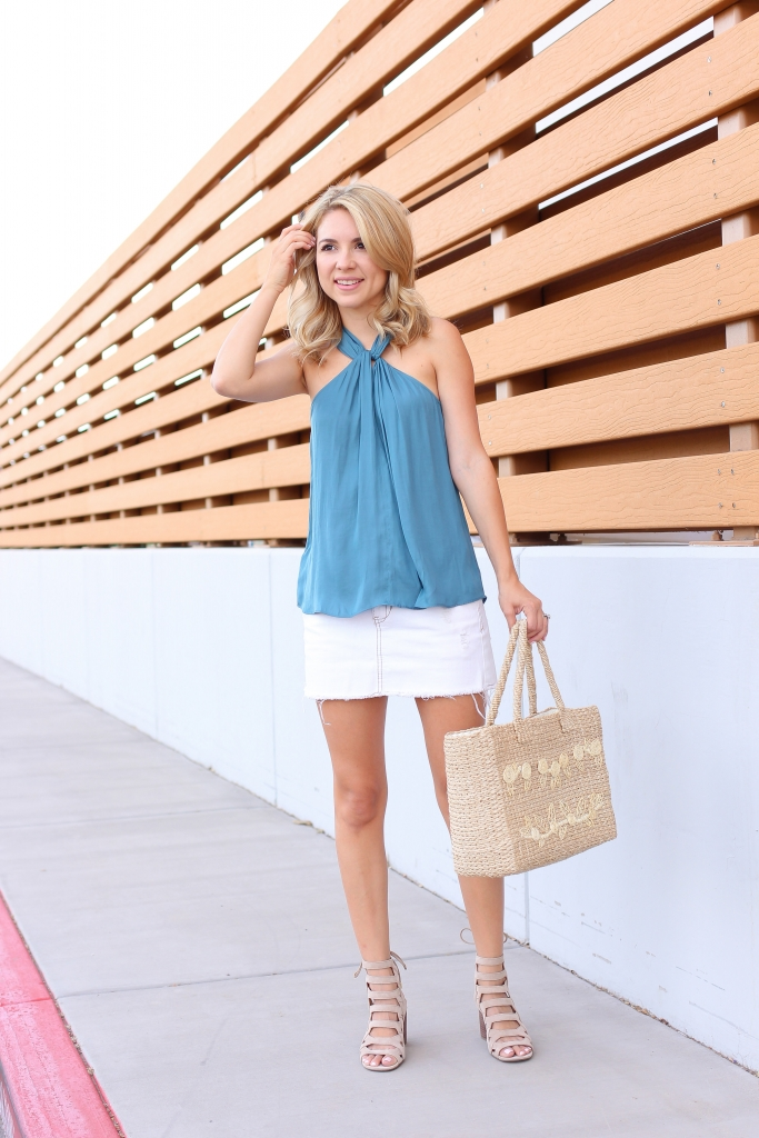 look book - street style - summer - white skirt - straw tote