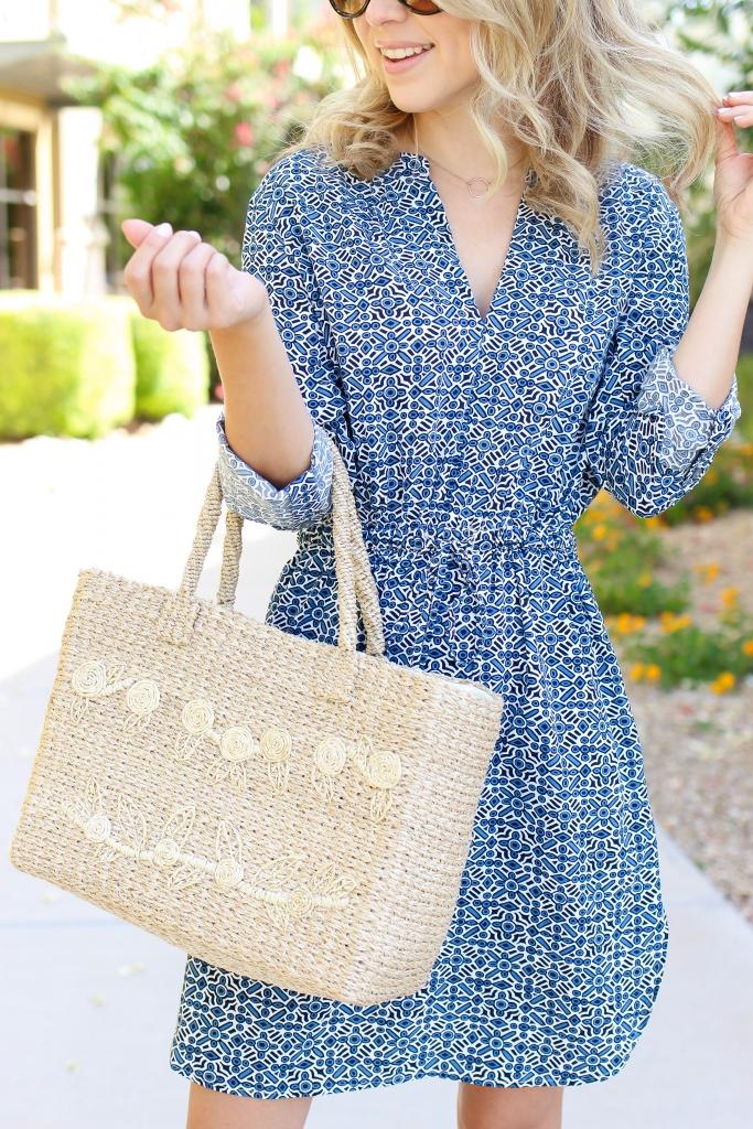 straw tote - summer handbag - summer style - blue dress
