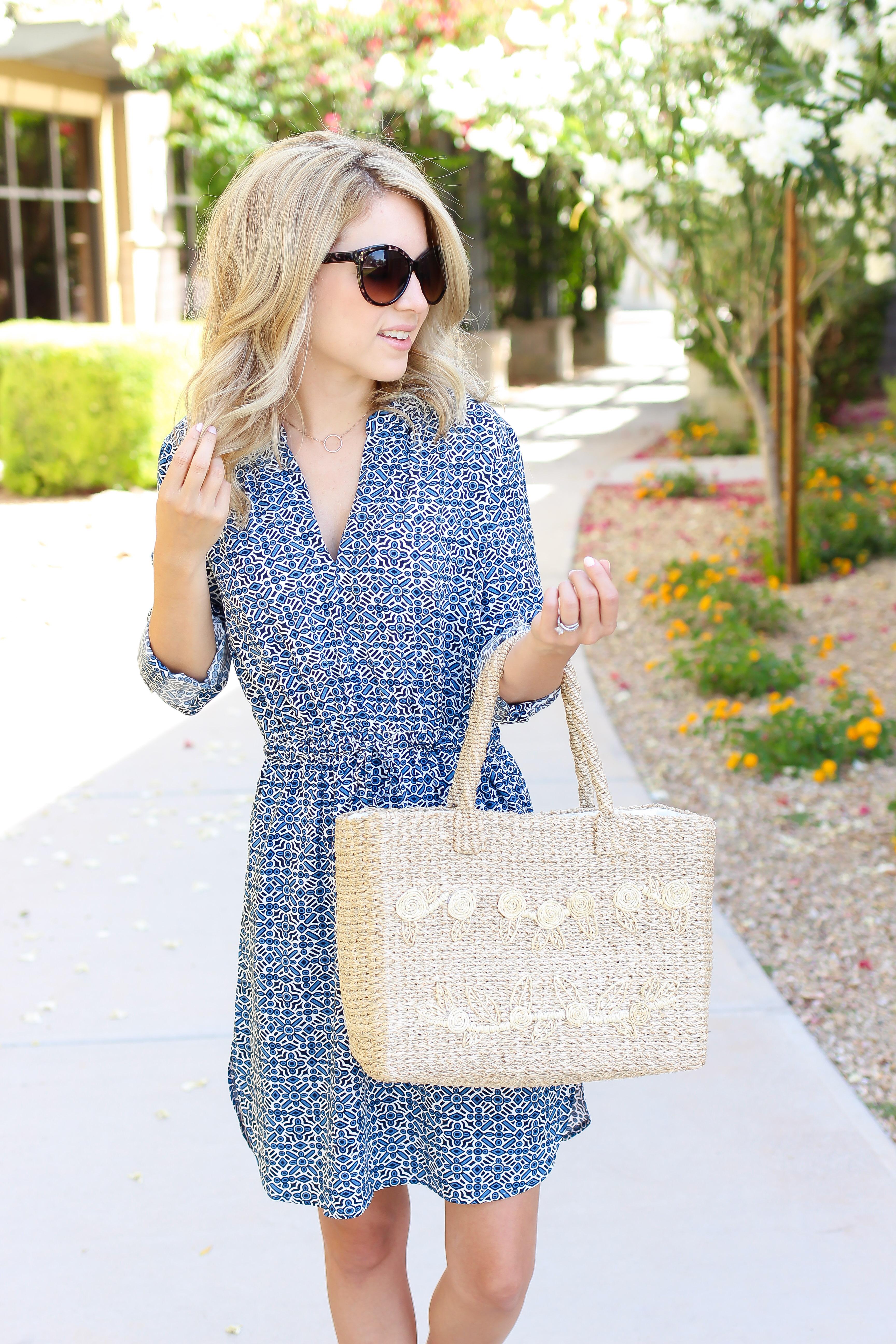 mosaic print dresses - summer dresses - shirt dress outfit