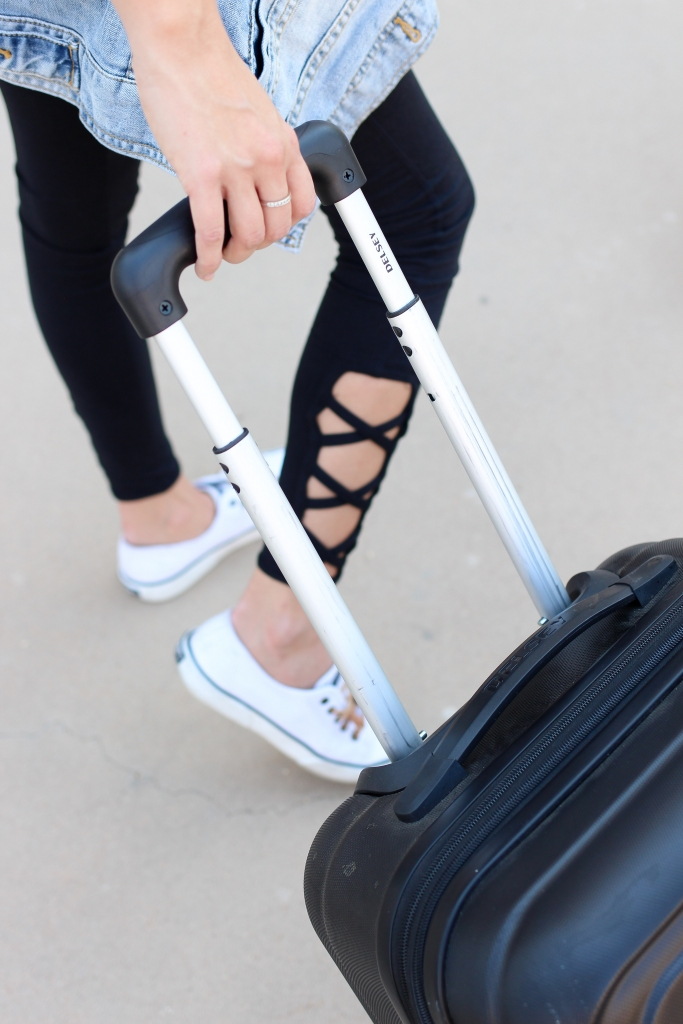 Delsey Luggage - slip on sneakers - travel outfit - simply sutter