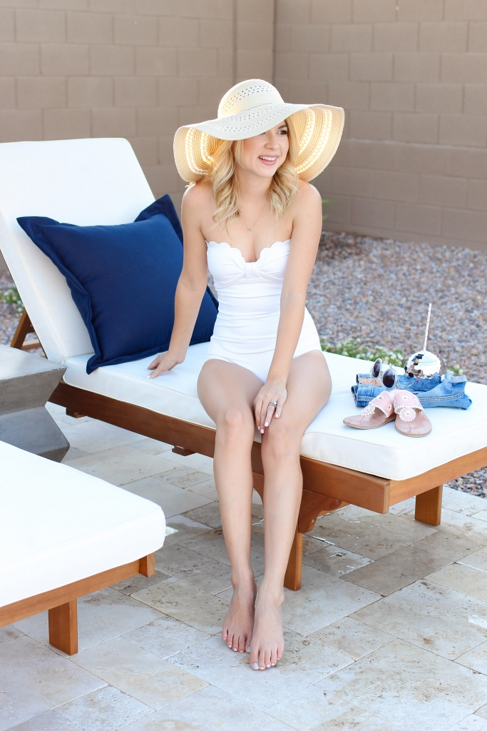 scallop one piece - white swimsuit - swim style - simply sutter