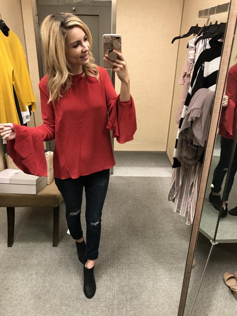 Bell Sleeve Top - red blouse - Nordstrom - nordstrom sale
