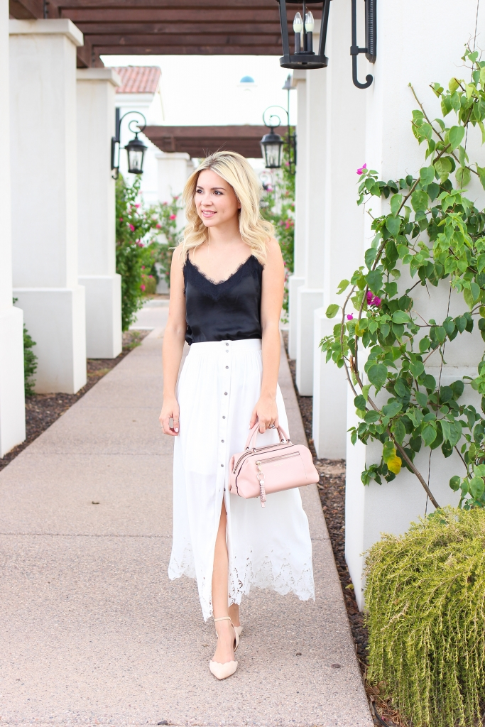 2 ways to wear scallop - lace top - white skirt