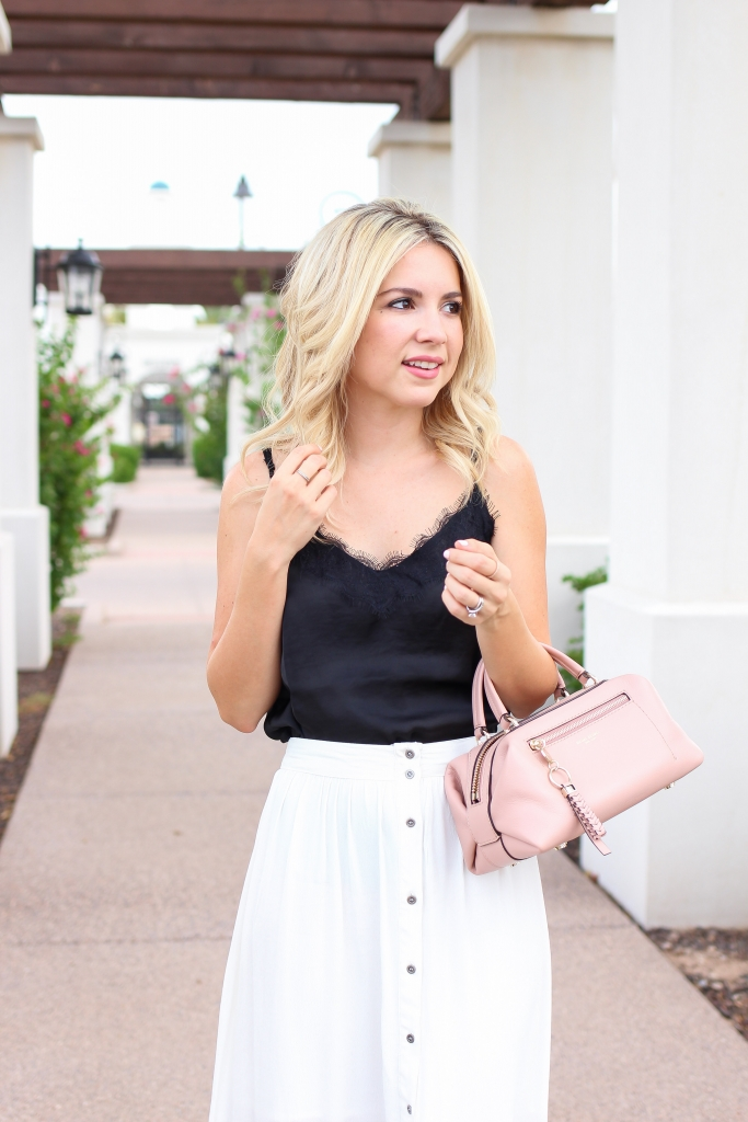 Lace cami - scallop flats - simply sutter - pink bag