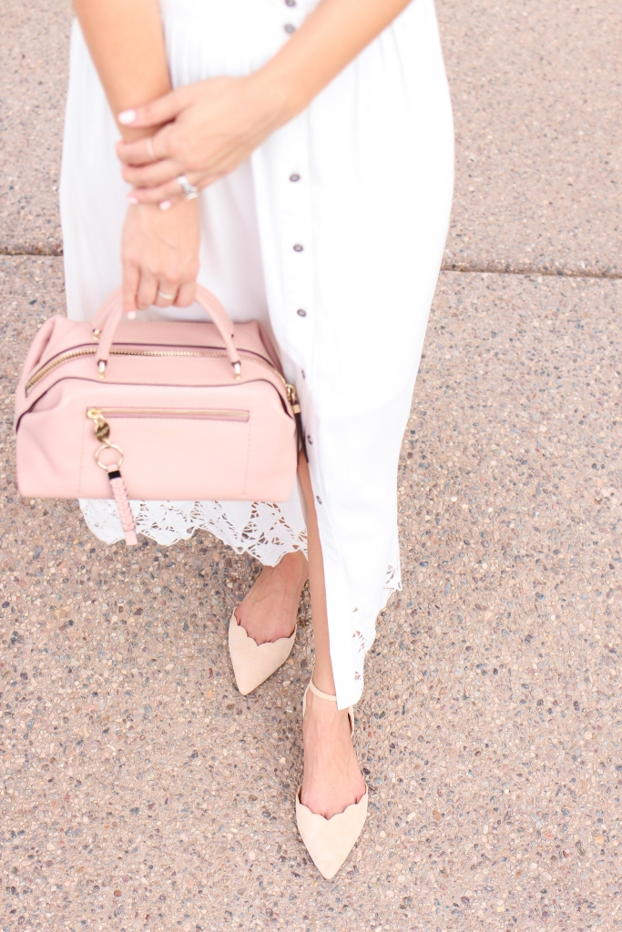 white skirt - pink bag - scallop flats - sam edelman