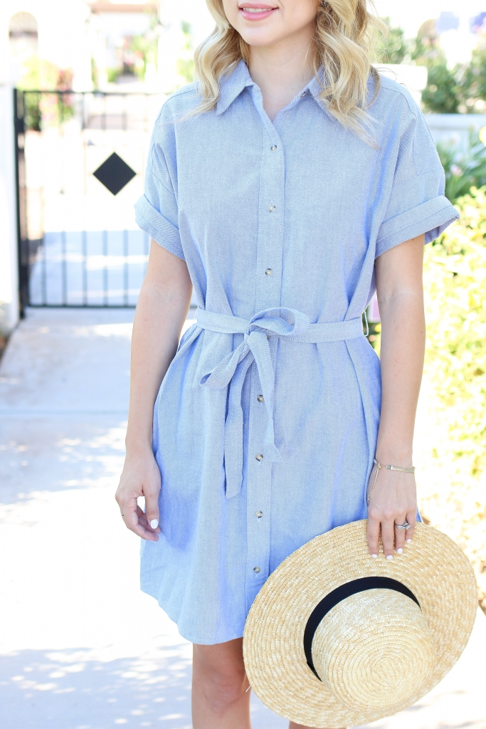 Simply Sutter - button up shirt dress - blue dress - straw hat