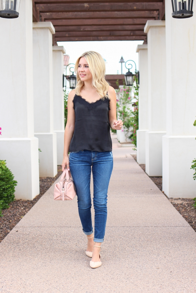 Simply Sutter - Denim outfit - lace cami - scallop flats