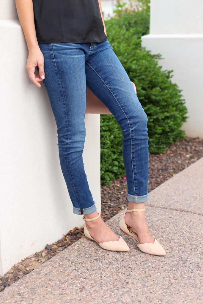denim outfit - nude flats