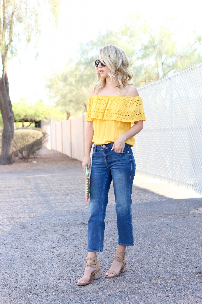 casual summer outfit - yellow off the shoulder - crop jean outfit - simplysutter.com