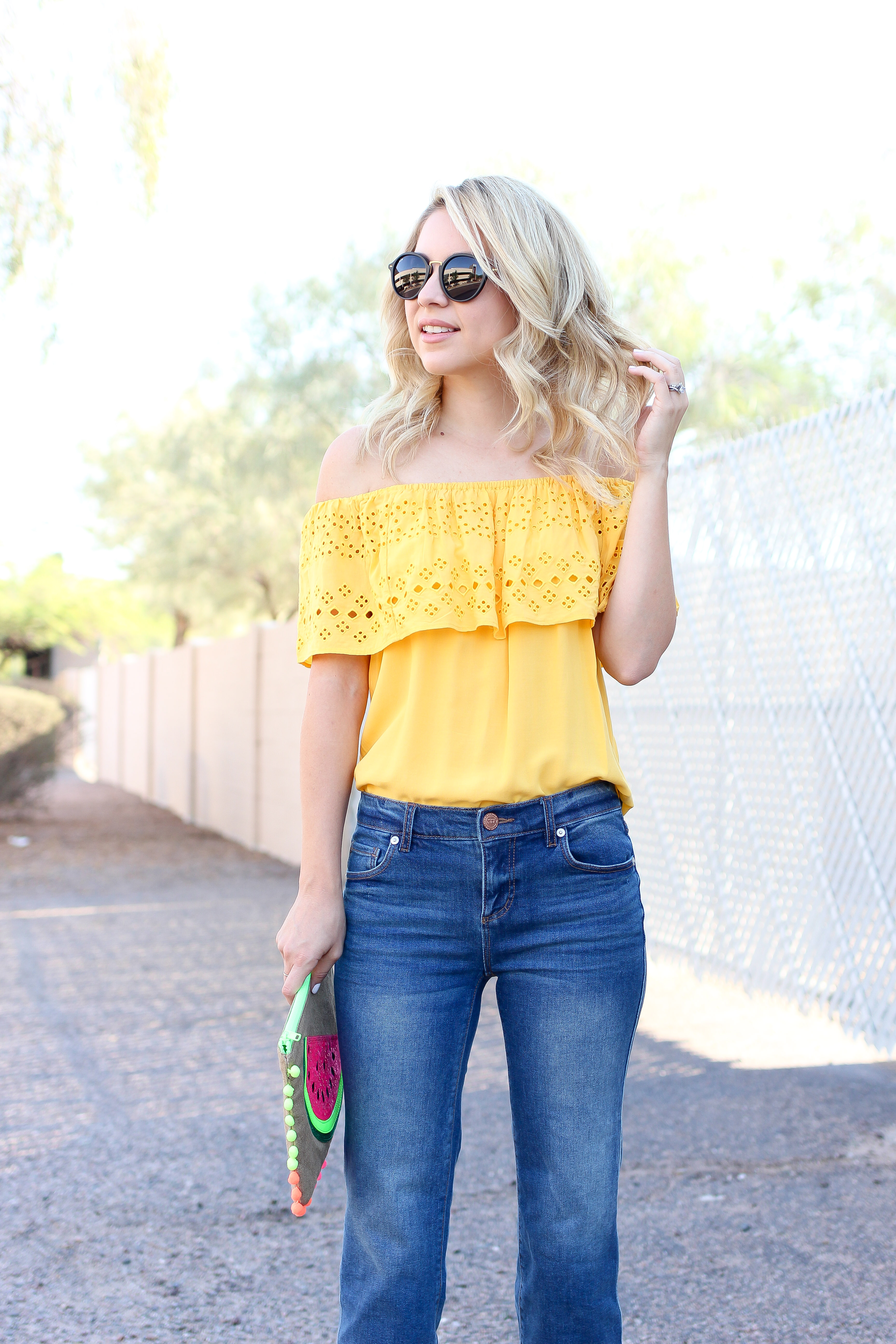 yellow OTS - mid rise jeans - summer outfit - outfit