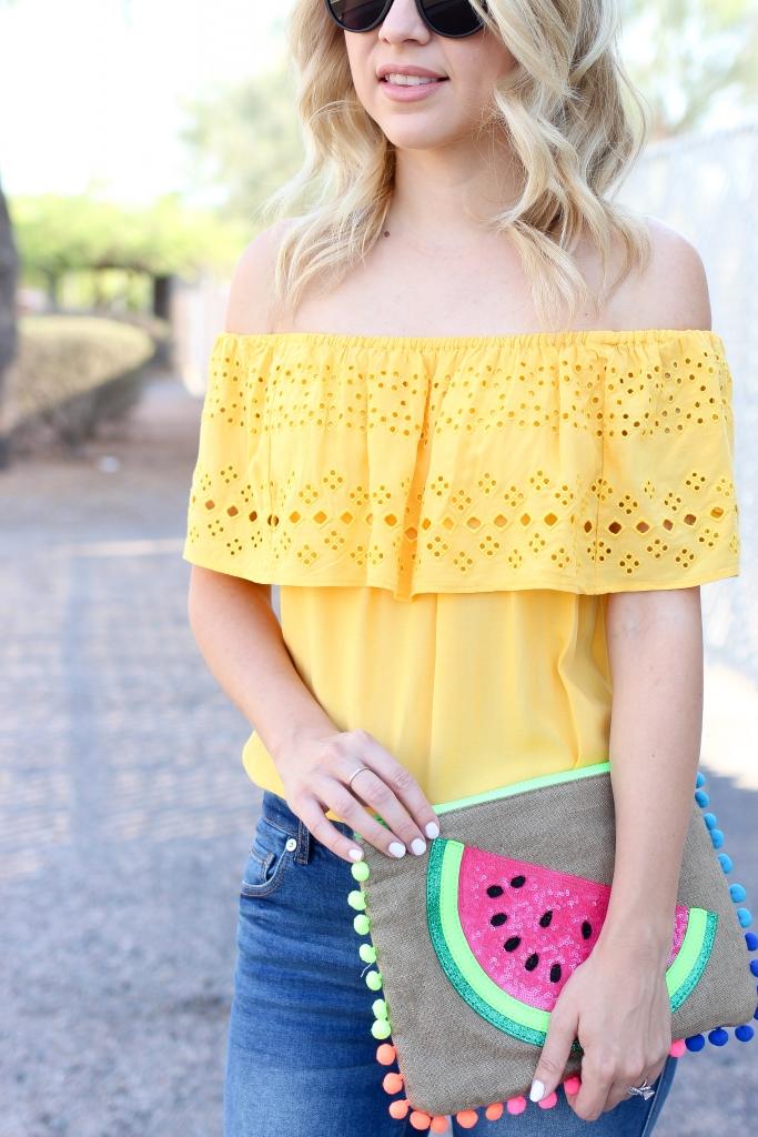 yellow off the shoulder top - casual denim style - simply sutter - fashion