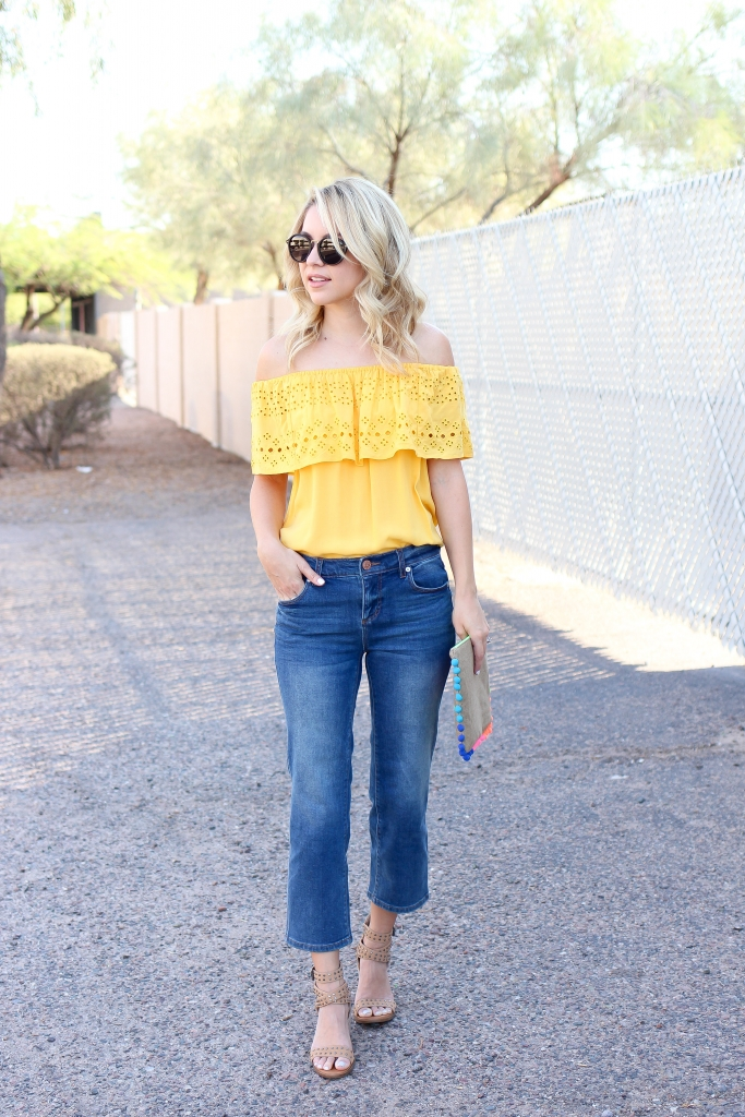 yellow off the shoulder - crop jeans - summer outfit - casual style - simply sutter - style