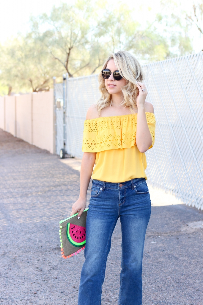 off the shoulder top - yellow top - simply sutter - summer style