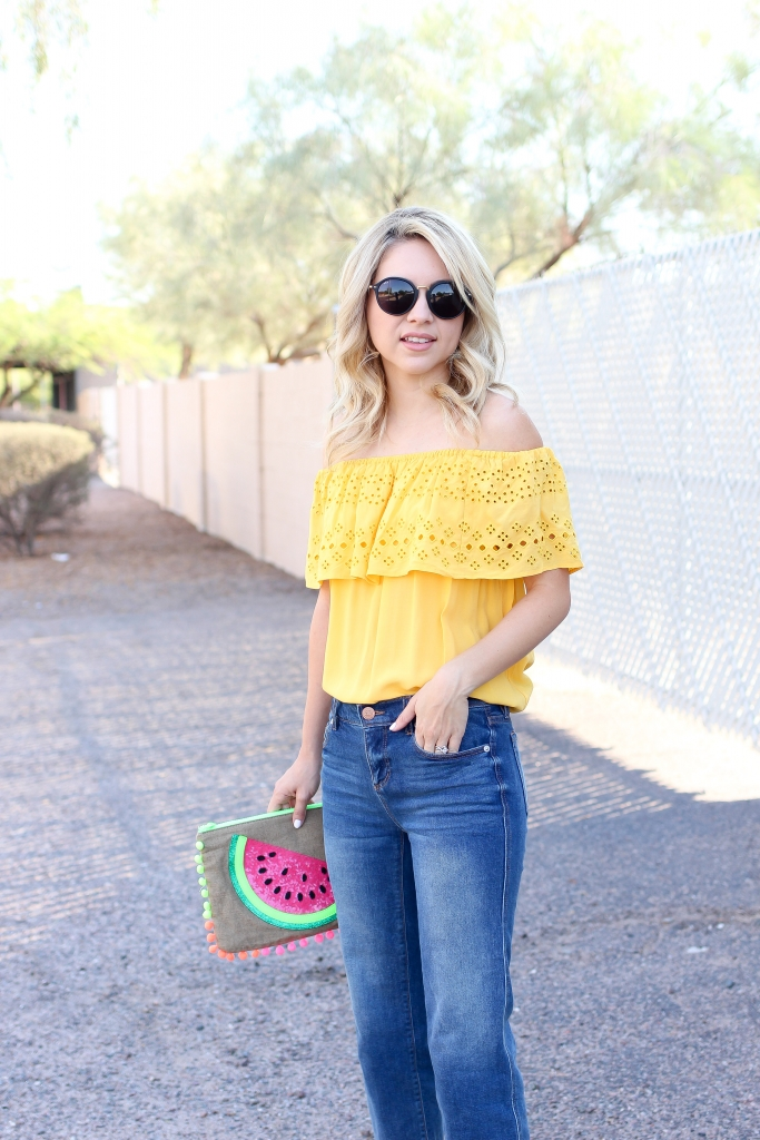 summer style - fashion blogger - crop denim outfit - summer clutch