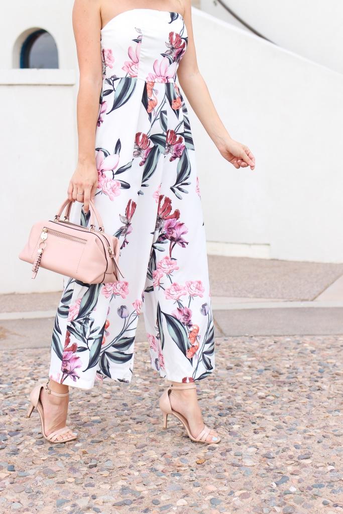 floral jumpsuit - jumpsuit - nude heels - pink bag