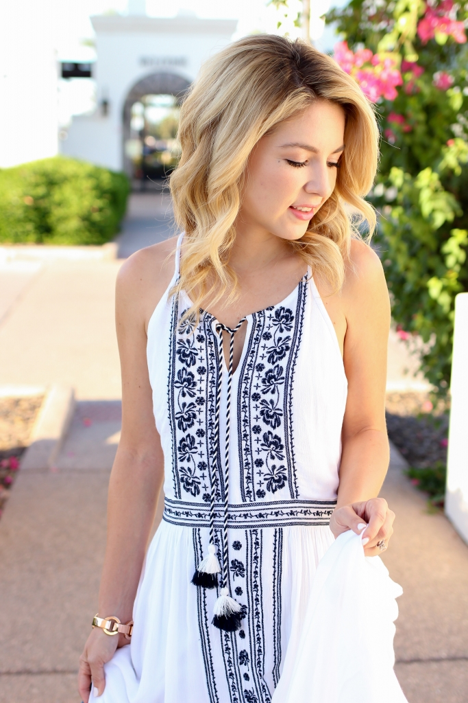 Simply Sutter - embroidered dress - white midi dress - dress with denim jacket