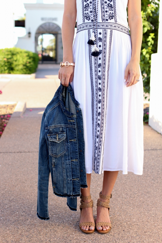 Simply Sutter - denim jacket - white dress - midi dress