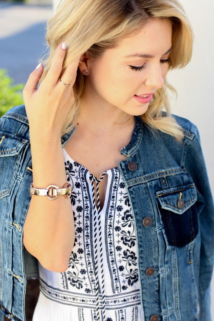 Simply Sutter - fringe denim jacket - henri bendel bracelet - fringe jacket - summer outfit