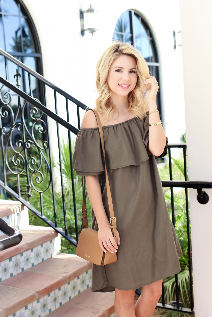 off the shoulder dress - olive dress - summer dress