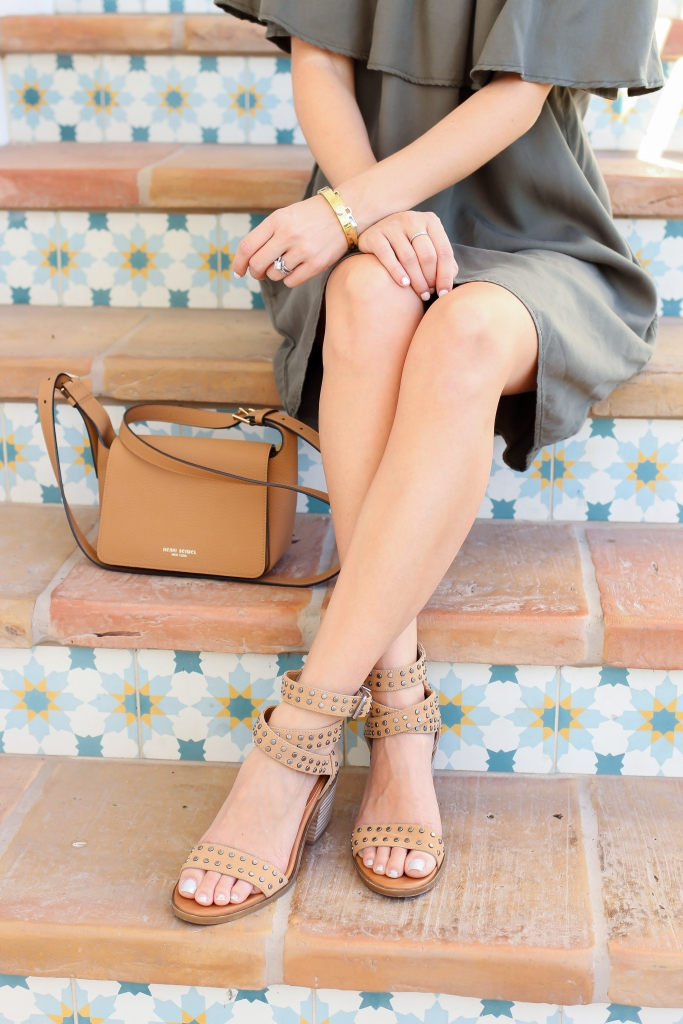 brown crossbody bag - studded sandals - summer style
