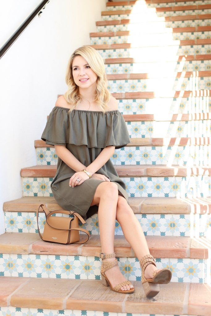 summer fashion - casual style - off the shoulder dress - olive dress