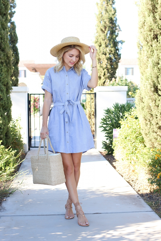shirt dress - blue dress - straw hat outfit