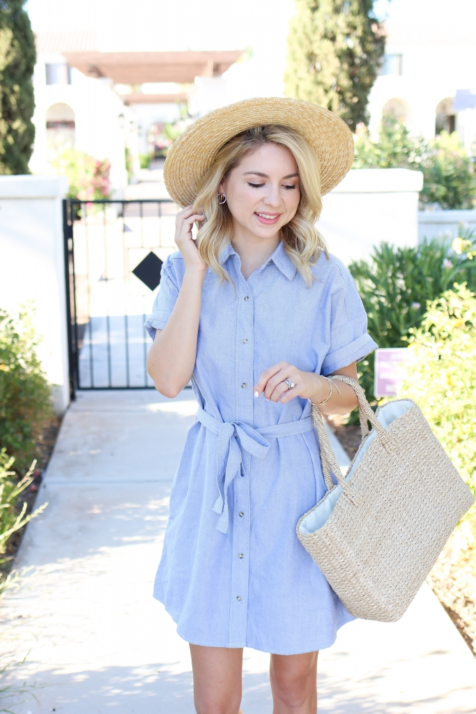 straw hat and shirt dress - shirt dress - bow dress - shirt dresses