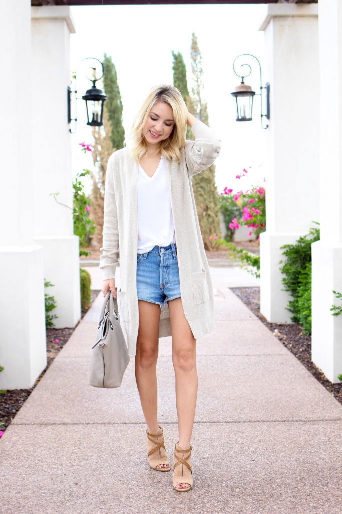 Simply Sutter - fall look - denim shorts outfit - fall transition look - cardigan outfit