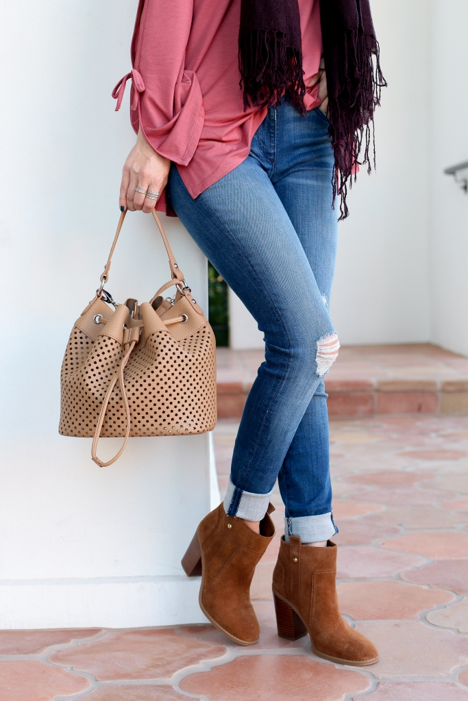 Simply Sutter - Boots - denim outfit - Arizona Mills - Bucket bag