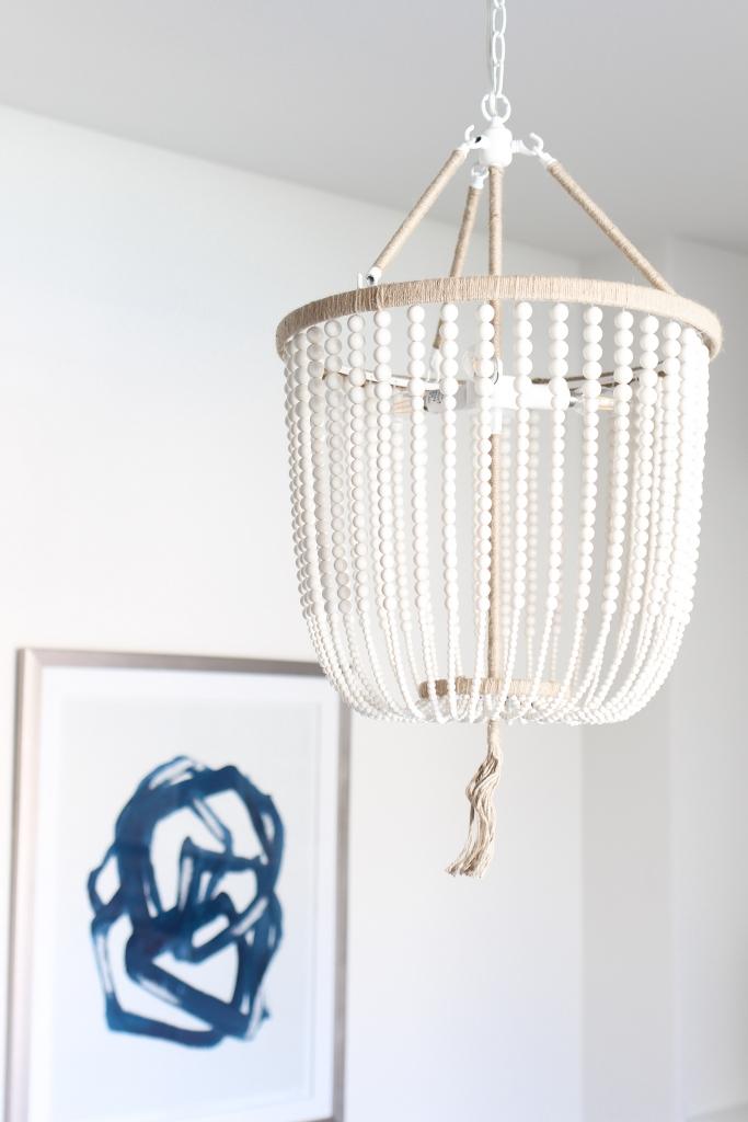 Simply Sutter - beaded chandelier - wood bead chandelier - dining room