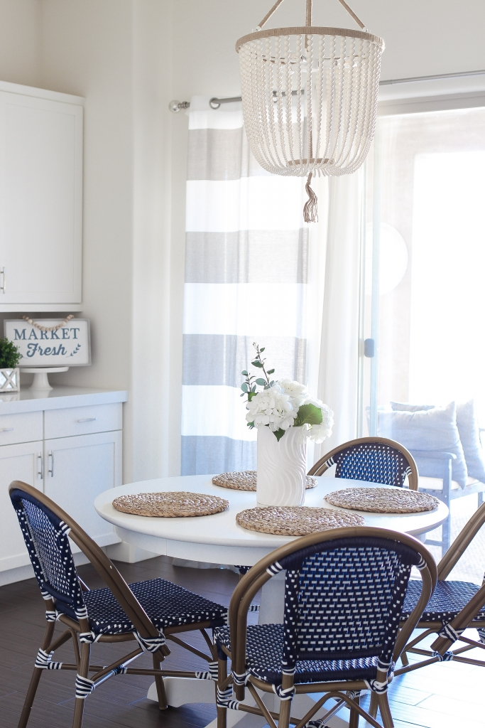 Simply Sutter - kitchen nook - dining room - white table - bistro chairs