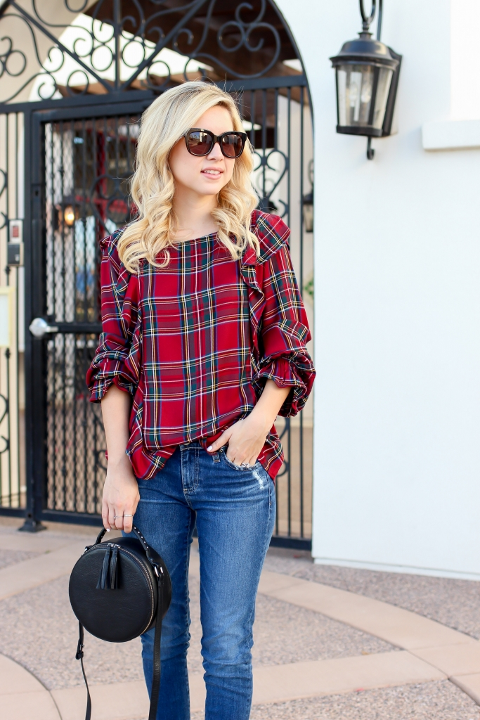 Simply Sutter - Plaid Ruffle Top - fall outfit