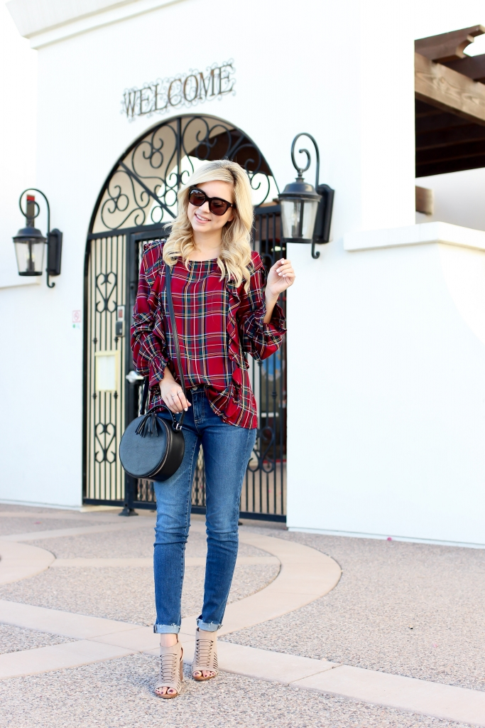 Simply Sutter - Plaid Ruffle Top - Plaid sweater - fall style