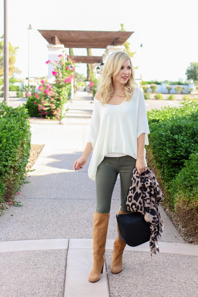 Simply Sutter - fall style - leopard scarf - olive green pants - fashion