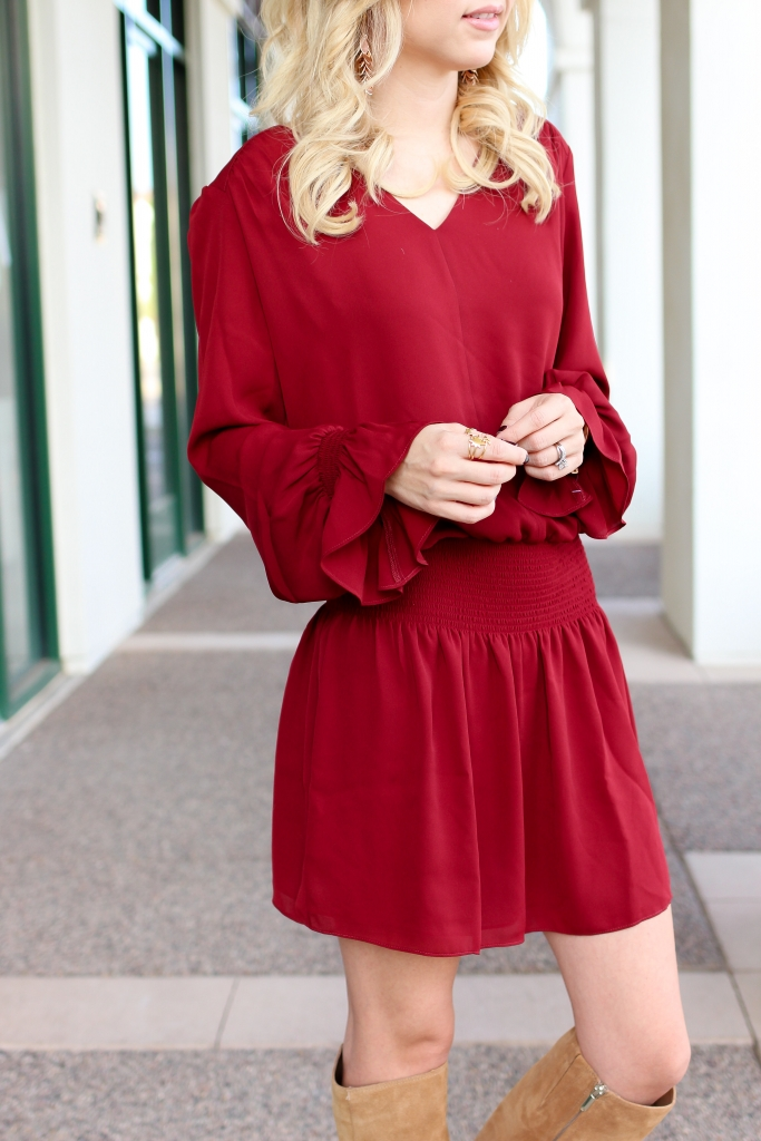 Simply Sutter - Burgundy Dress - dress and boots - fall outfit